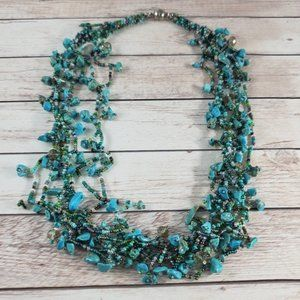 Beaded multi strand short necklace teal blue